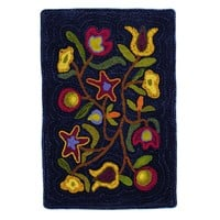 Walk In the Flower Hooked Wool Rectangle Rug