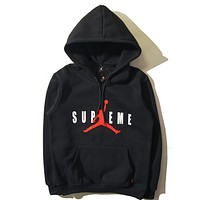 Supreme & Jordan Fall and winter cotton fleece hooded hoodie sweater