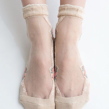 Women New Hezwagarcia Japan Edition Floral Silk Rayon Cozy Ruffle Frill Mesh Sheer Sheen Elegant Ankle Socks Stocking in Nude