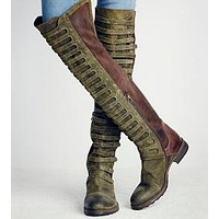 Women's Side Zipper Large Size Tall Riding Boots