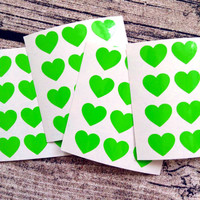 48 Green heart stickers, Green heart mini decals, Green heart envelope seals, for packaging, gift wrapping or wedding invitations