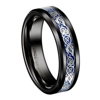 6mm Tungsten Rings for Blue Fiber Silvering Celtic Dragon Inlay Black