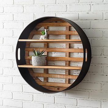 Round Wood and Metal Wall Display