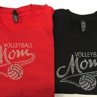 Mom's Volleyball Rhinestone Shirt