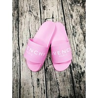 GIVENCHY PARIS andals Comfortable Loose Slippers Pink G-CSXY