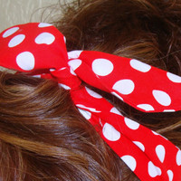 Dolly Bow, Red with Medium White Polka Dots Rockabilly Wire Headband Pin Up 50s Hair Teen Woman