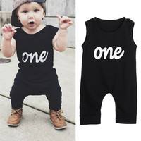 Baby Romper Infant Jumpsuit  Toddler Kids Summer Sleeveless One Print Black Rompers  Baby Boys  Girls Clothes Outfit