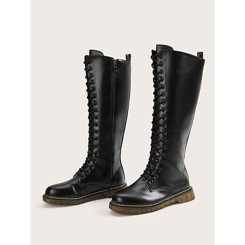 Lace-up Side Zip Knee Length Boots