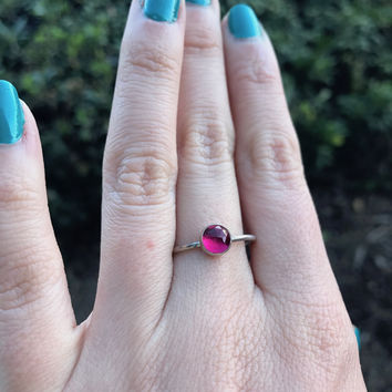Hot Pink Quartz Stacking Ring - Ready to Ship - Size 8
