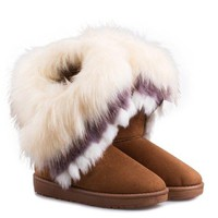 Mid Calf Flat Heel Boots With Multicolor Fur Design