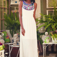 DAMIETTA EMBROIDERED MAXI DRESS