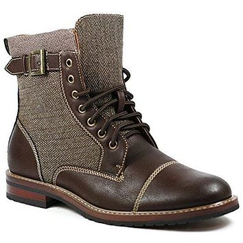 Mens M-808566 Tweed Lace Up Cap Toe Dress Fashion Ankle Boots