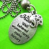 Elephant Animal Round Pendant Necklace in Silver with Quote