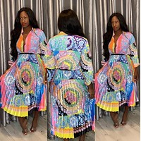 Versace Fashion Women Long Sleeved Lapel Shirt Top Print Skirt Two-Piece