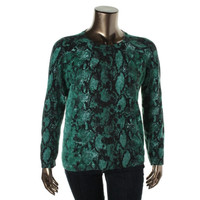 Lord & Taylor Womens Cashmere Snake Print Pullover Sweater