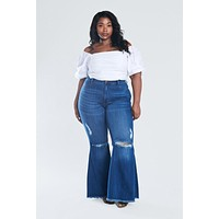 Distressed Flare jeans plus size