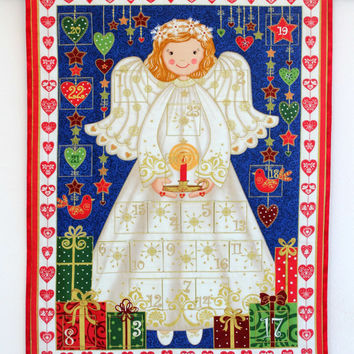 Advent Calendar, Quilted Christmas Wall Hanging, Angel Calendar with Treat Pockets, Childrens Activity Calendar, Quiltsy Handmade