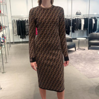 FENDI Women Long Sleeve Round Collar Slim Dress