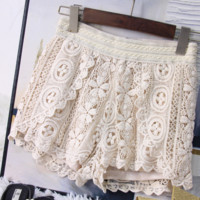 High waist loose female casual hook flower embroidery lace wide leg pants pants lace short pants summer female