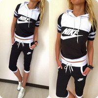 """""""NIKE"""" Fashion Casual Multicolor Letter Print Short Sleeve Hooded Set Two-Piece Sportswear"""