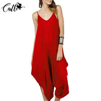 Sexy Deep V Backless Red Jumpsuit Women 2017 New Plus Size Summer Style Rompers Womens Jumpsuit Loose Long Pants Rompers Overall