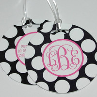 TWO Personalized ROUND Bag Luggage Tag - Choose Your Design - set of TWO