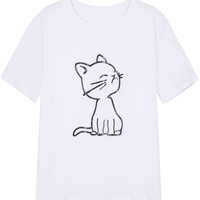 Cat Print Short Sleeve Graphic T-shirt