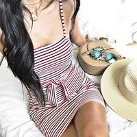 Hot spring and summer sexy color striped dress