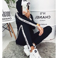 OFF-White Trending Women Leisure Print Hoodie Sweater Pants Set Two Piece Sportswear Black