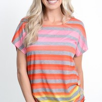 Bright Striped Top with Buttons