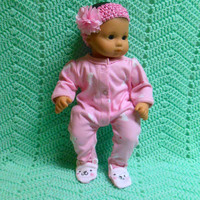 """American Girl BITTY BABY clothes """"Easter Bunny Dreams"""" (15 inch) doll outfit with sleeper and headband hair clip butterfly"""