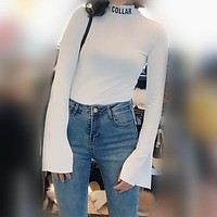 Women All-match Simple Fashion Letter Print Turtleneck Long Sleeve Pagoda Sleeve Stretch T-shirt Pullover Tops
