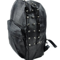 Black Vinyl Skull Backpack for School or Travel
