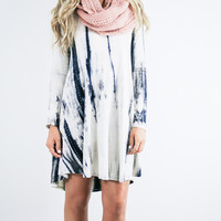 Oceanside Tide Black & Ivory Long Sleeve Tie-Dye Tunic Dress