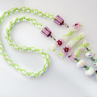 Beaded necklace - Spring in Japan - white, green and pink seed bead jewelry - crochet cord - handmade beadwork with painted porcelain beads