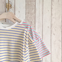 Stripy Tee Yellow and Blue