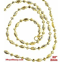 14K Yellow Gold layered on 925 Silver diamond cut Moon Chain / Necklace-2mm- 22""