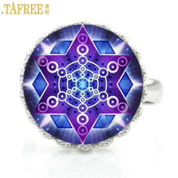 TAFREE 2017 handmade flower of life mandala glass art crown rings religious women wedding party jewelry buddhist zen gifts HT244