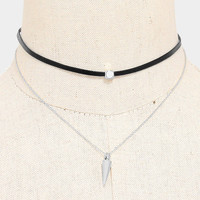 Faux Leather Metal Spike Drop Choker Necklace - Silver