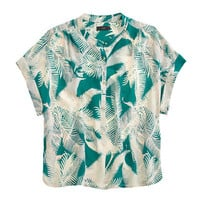 J.Crew Womens Cropped Silk Popover Shirt In Tropical Fern