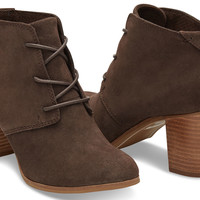 CHOCOLATE BROWN SUEDE WOMEN'S LUNATA LACE-UP BOOTIES