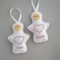 Personalized ornaments,  felt angels, custom ornaments, Christmas holiday decor, embroidered heart -Set of two