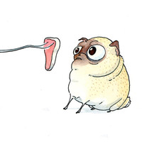 Funny Pug Art Print - Handmade Print of our Ink and Watercolor Painting - Cute Pug Dog Artwork from InkPug!