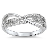 Sterling Silver Pave Set Crossover CZ Infinity Ring Wedding Band size 5-10