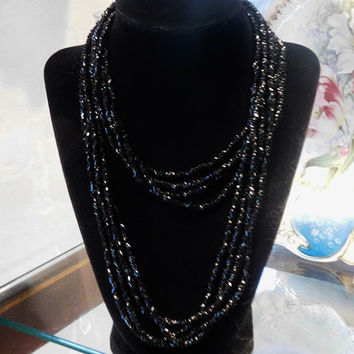"Micro Glass Bead Necklace French Jet Black Glass Beaded Necklace 36"" Extra Long Multi Strand Quadruple Necklace Mourning Opera Length Beads"