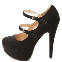 Double Mary Jane Platform Pumps by Charlotte Russe
