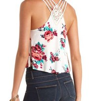 Strappy Crochet-Back Floral Crop Top by Charlotte Russe - Ivory Combo