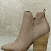 Marissa Light Cement Taupe Suede Ankle Booties