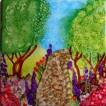 Tile Art Painting Alcohol Ink Garden Path Flowers 4x4 inches SFA