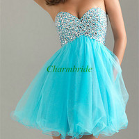 sweetheart blue prom dresses / manual nail bead Cocktail Dress / short homecoming gowns affordable / cheap dress for holiday party